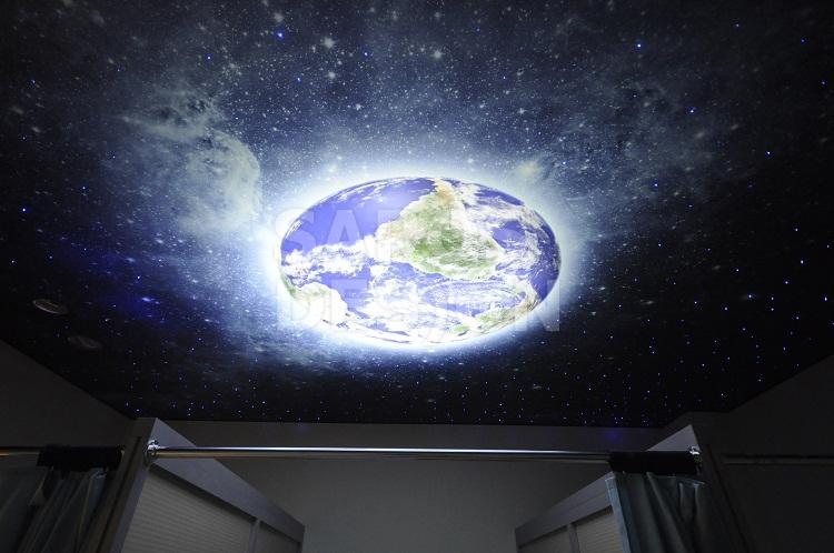 Потолок с фотопечатью в ванной   498x750